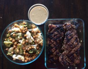 marinate steak with chickpeas