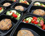 Mediterranean turkey burgers with cucumber & tomato salad
